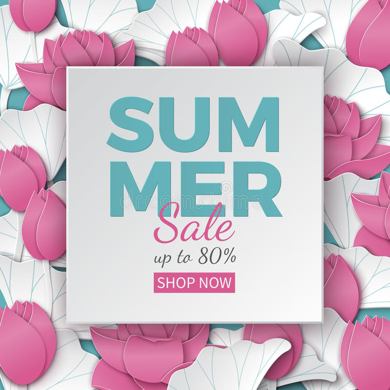 Lato sprzedaży sztandar z papieru cięcia ramą i kwitnienie różowymi lotosowymi kwiatami na kwiecistym tle dla sztandaru, ulotki,  ilustracja wektor