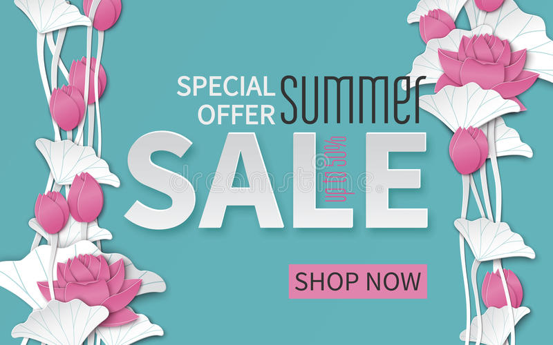 Lato sprzedaży sztandar z papieru cięcia ramą i kwitnienie różowymi lotosowymi kwiatami na kwiecistym tle dla sztandaru, ulotki,  ilustracji