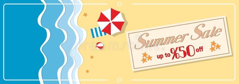 Lato sprzedaży sztandar z parasolem ilustracji