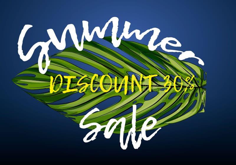 Lato sprzedaży sztandar z rzeźbiącą tropikalną palmą opuszcza Egzotyczny kwiecisty tło, projekt dla sztandaru, ulotka, plakat, za royalty ilustracja