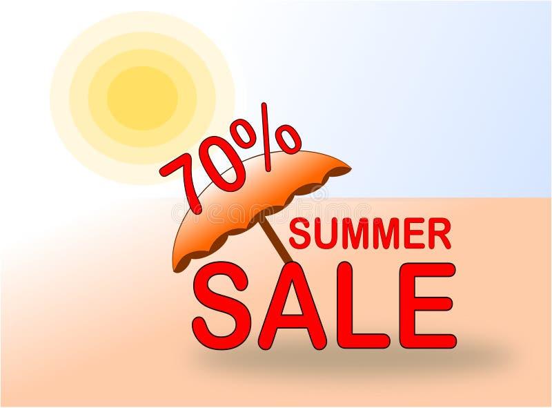 Lato sprzedaży 70% sztandar z słońcem i plażowym parasolem royalty ilustracja