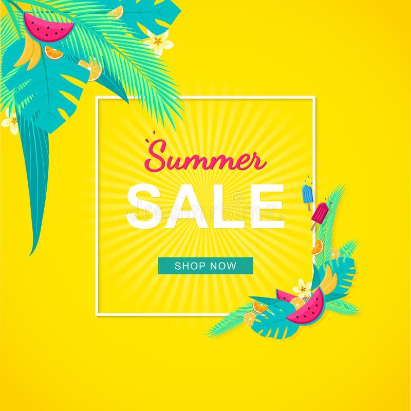 Lato sprzedaży sztandar z tropikalnymi liśćmi, owoc i kwiatami, żółty tło ilustracji
