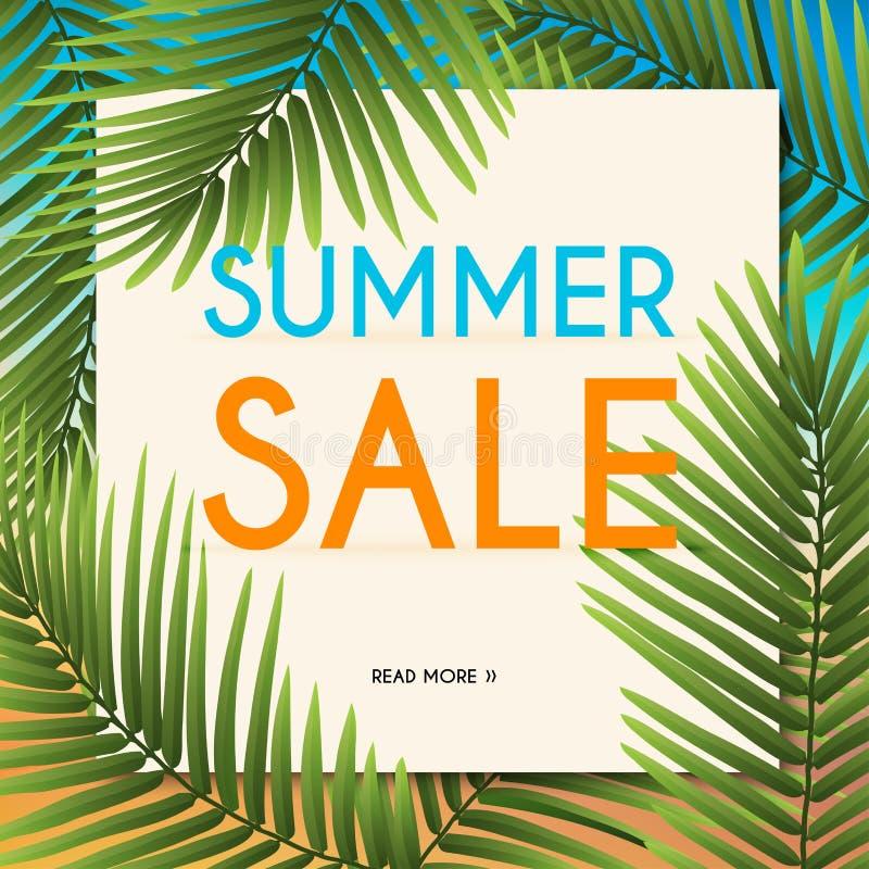 Lato sprzedaży sztandar z tropikalnymi roślinami Plakat, ulotka ilustracji