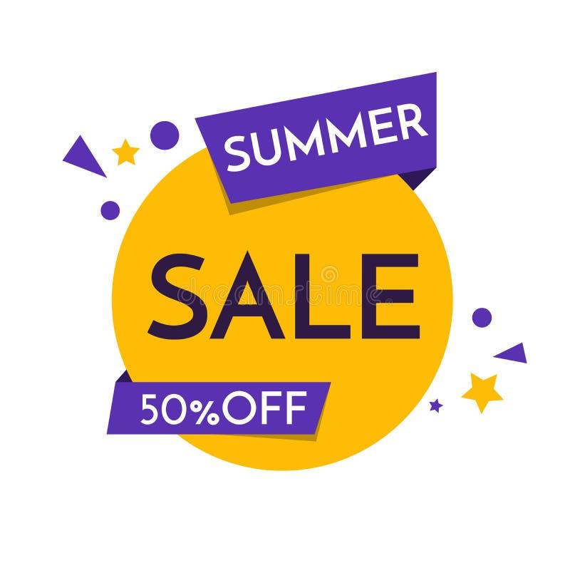 Lato sprzedaży sztandaru ikona, plakat, ulotka, 50 Daleko, tło Super sprzedaż, oferta specjalna na Każdy gatunki wektor royalty ilustracja