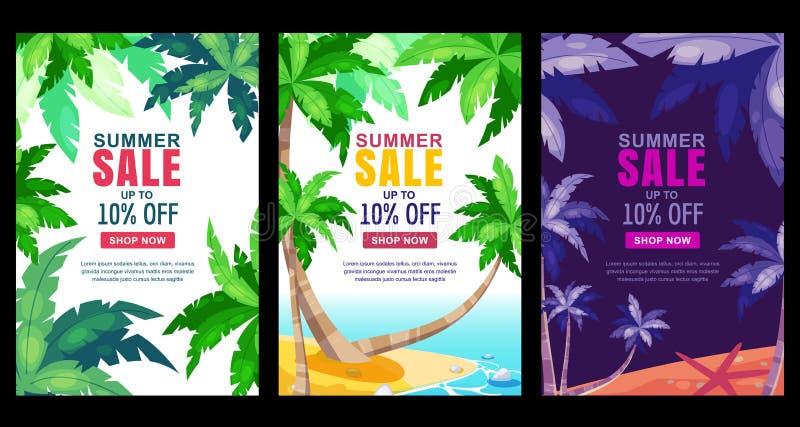 Lato sprzedaży sztandaru pionowo set Wektorowy sezonu plakata szablon Tropikalni tła z zieloną palmową liść ramą royalty ilustracja
