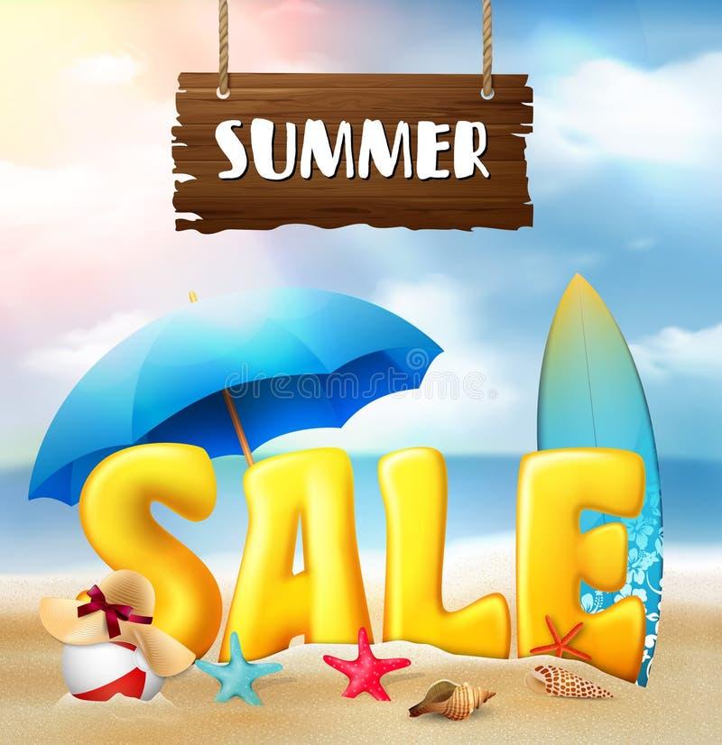 Lato sprzedaży sztandaru plaży tło royalty ilustracja