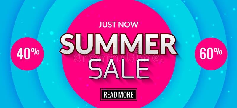 Lato sprzedaży sztandaru projekt Targowa dyskontowa odprawa Lato sprzedaży oferty gorący plakat ilustracji