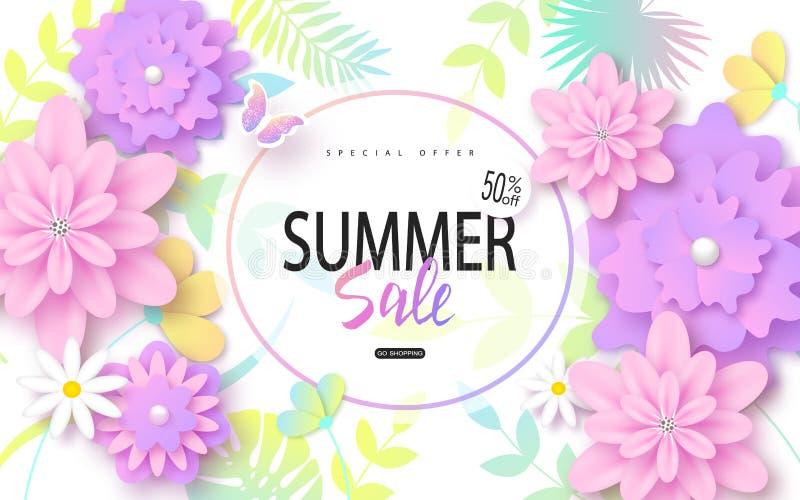 Lato sprzedaży sztandaru projekt z kolorowymi tropikalnymi liśćmi i kwiatami Wektorowa ilustracja dla plakatów, talony ilustracji
