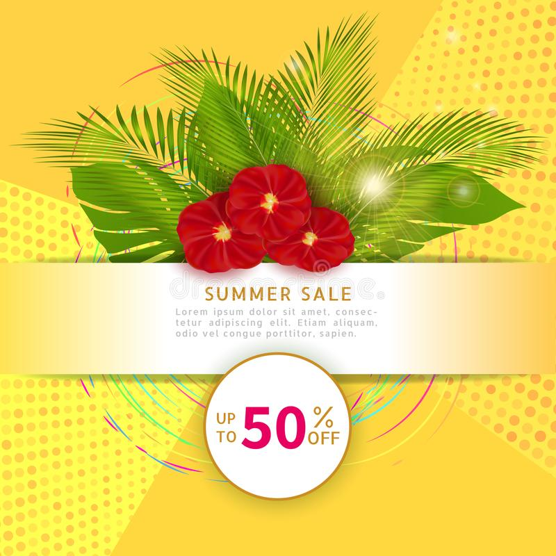 Lato sprzedaży sztandaru szablon dla online sklepu Plakat z palmowymi li??mi Alegata rabat Żółty tropikalny lata tło z ponownym ilustracji