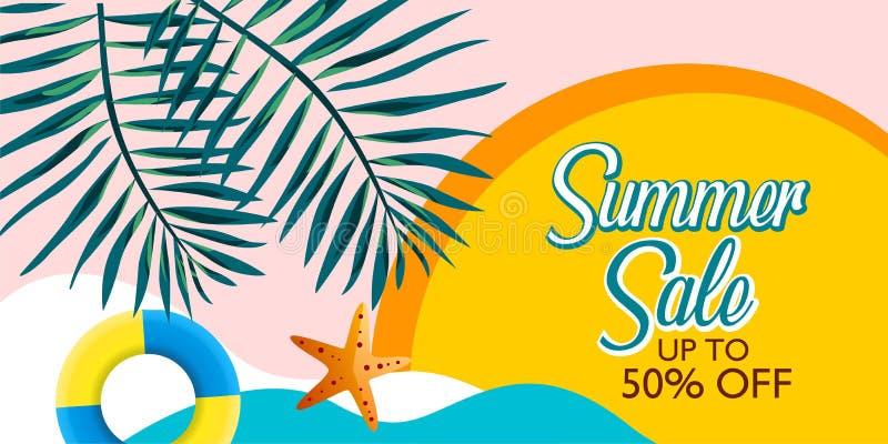 Lato sprzedaży sztandaru tła wektor dla promocji twój rzeczy z palmowym liściem i plażą ilustracji