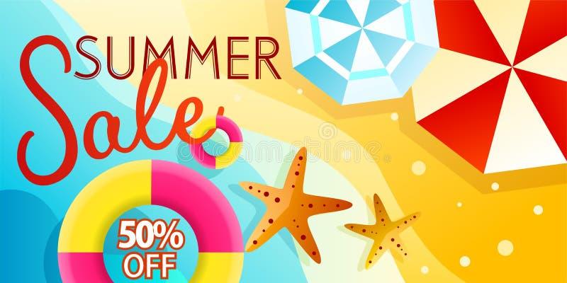 Lato sprzedaży sztandaru tła wektor dla promocji twój rzeczy z plażową ilustracją royalty ilustracja