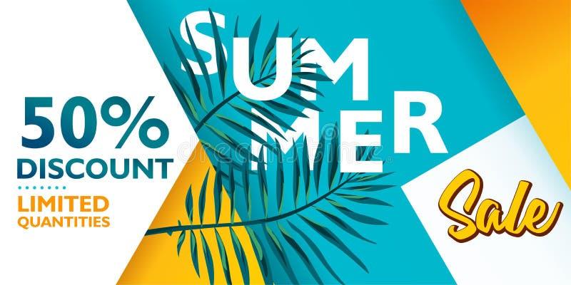 Lato sprzedaży sztandaru tła wektor dla promocji twój rzeczy Z pokrywać się kształt i palma liście ilustracja wektor