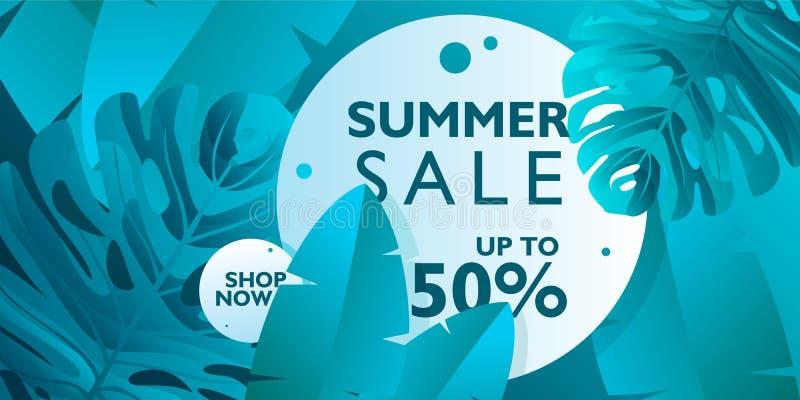 Lato sprzedaży sztandaru tła wektor dla promocji twój rzeczy Z tropikalnymi liśćmi na błękitnym kolorze royalty ilustracja