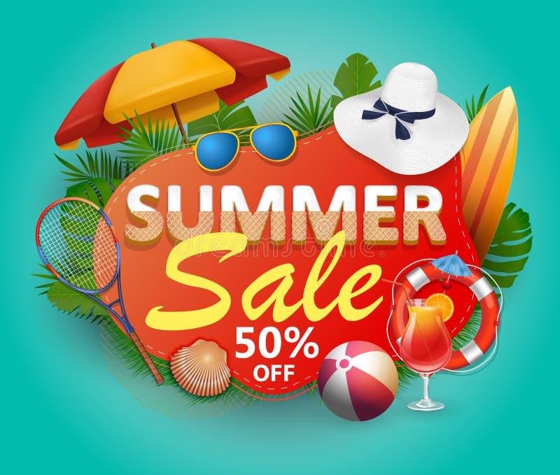 Lato sprzedaży sztandaru wektorowy projekt dla promocji z palma liśćmi i kolorowymi plażowymi elementami fotografia royalty free