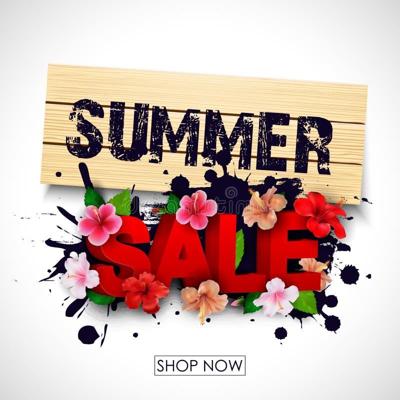 Lato sprzedaży tło z tropikalnymi kwiatami ilustracja wektor