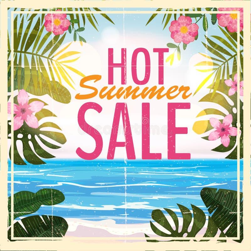 Lato sprzedaży tło z tropikalnymi kwiatami i plażą, morze Retro, rocznik Wektorowy tło dla sztandaru, plakat, ulotka ilustracja wektor
