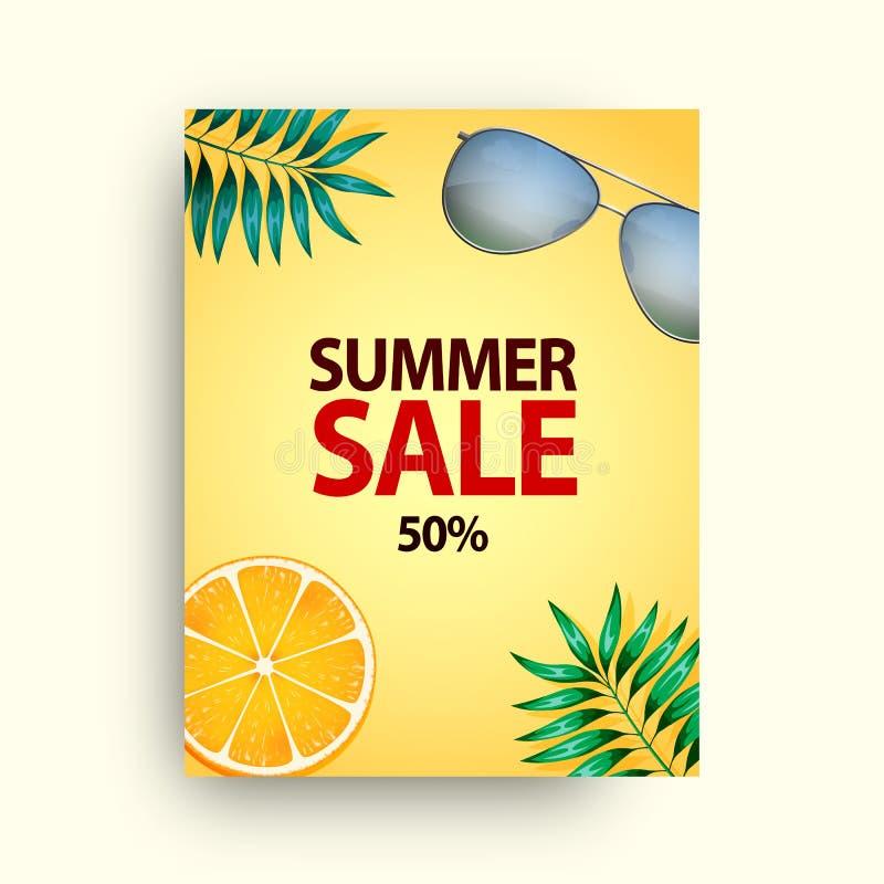 Lato sprzedaży wektorowy plakatowy ustawiający z 50 z dyskontowych teksta i lata elementów w kolorowych tło dla sklepu marketingu ilustracji