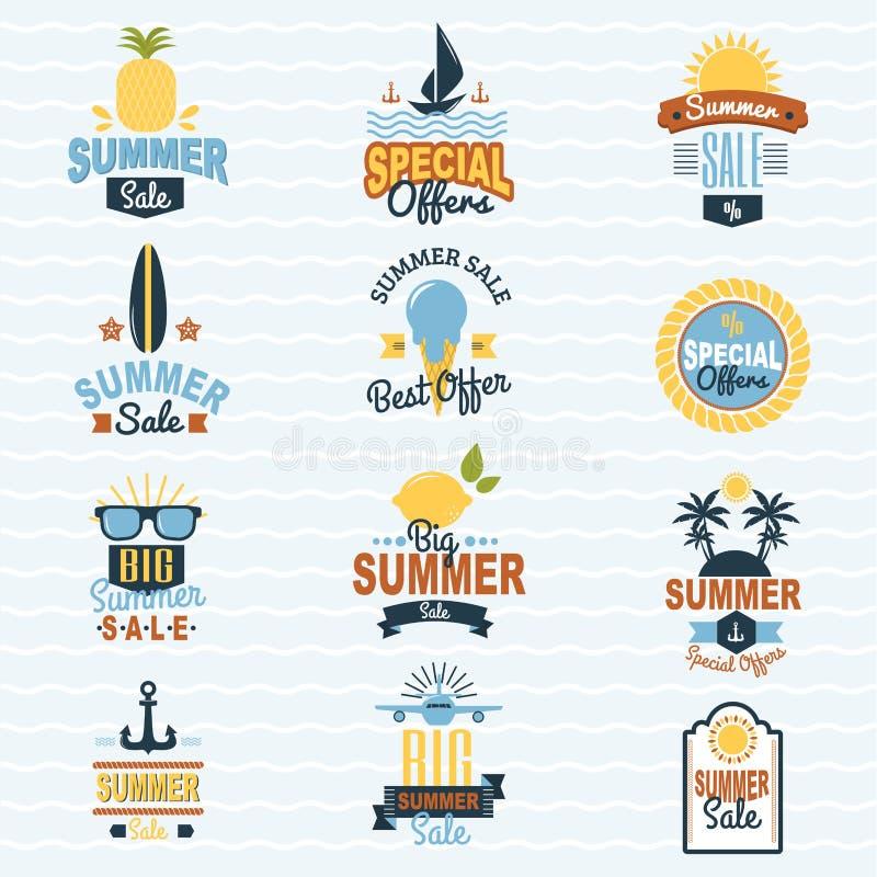 Lato sprzedaży zakupy oferty loga odznaki rabata lata wakacje sezonowej wektorowej ilustracyjnej podróży pogodny logotyp ilustracji