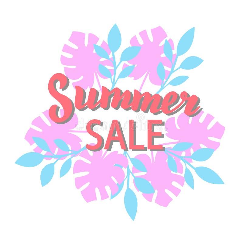 Lato sprzeda?y promoci sztandar Modny lato sezonu rabata literowania plakat Sklepowa reklamy ulotka z palmowymi liśćmi ilustracja wektor