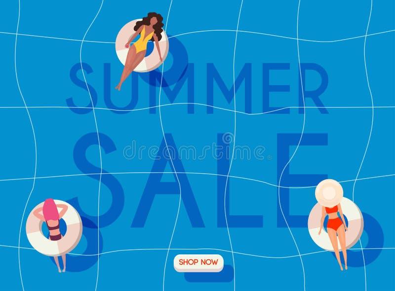 Lato sprzeda?y sztandar Kobiety kłama na spławowych basen materac w pływanie kostiumach Plakat, ulotka, wektor royalty ilustracja