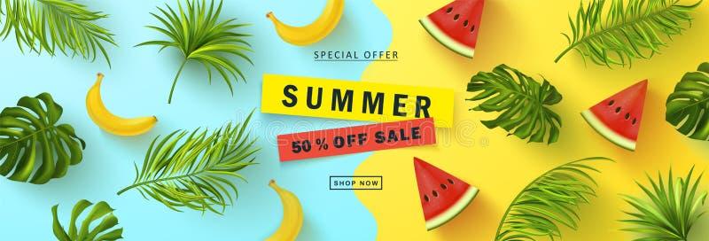 Lato sprzeda?y sztandar Piękny tło z realistycznymi tropikalnymi liśćmi, bananem i arbuzem, Wektorowa ilustracja dla royalty ilustracja