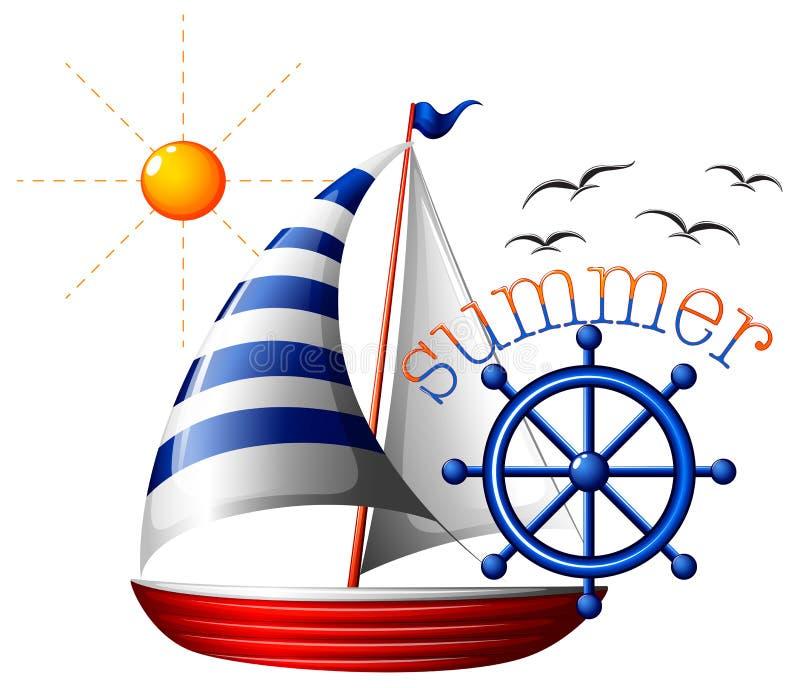 Lato szablon z łodzią ilustracja wektor