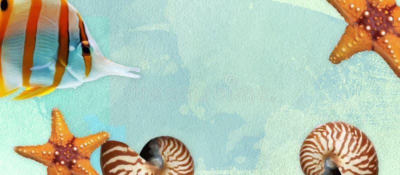 Lato sztandar z nafcianej farby i akwareli mu?ni?ciami Seashell, rozgwiazda i ryba na morskim tle z tekst przestrzenią, obrazy stock