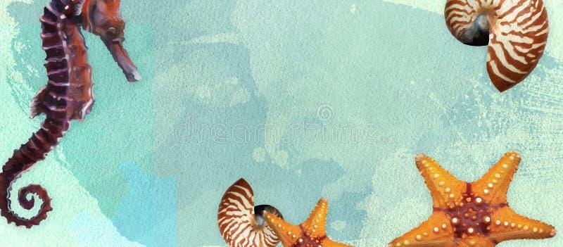 Lato sztandar z nafcianej farby i akwareli mu?ni?ciami Seashell, seahorse, rozgwiazda na morskim tle z tekst przestrzenią fotografia royalty free