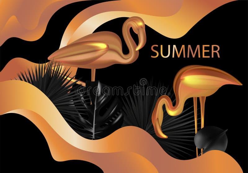 Lato sztandar z złocistymi flamingami, tropikalnymi liśćmi i liquide kolorową substancją royalty ilustracja