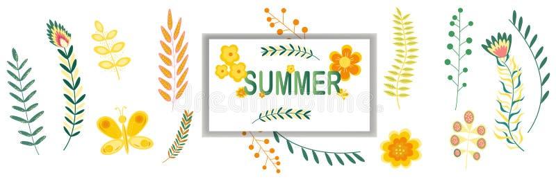 Lato sztandaru kwiecisty wzór z ramy kopii przestrzenią Kwitnie i rozgałęzia się w pastelowych kolorach również zwrócić corel ilu ilustracja wektor
