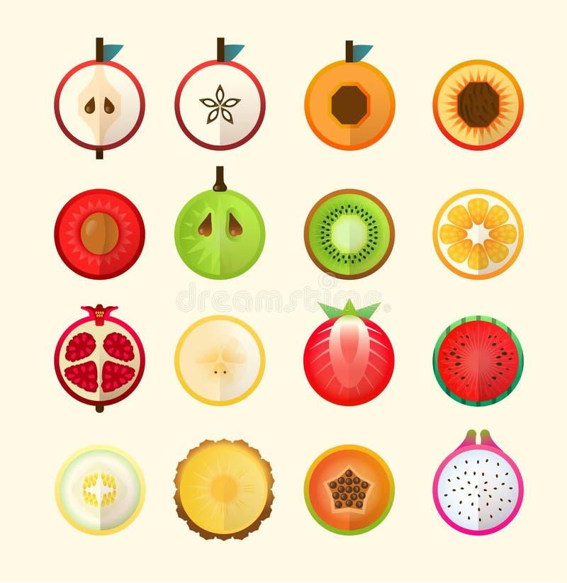 Lato tropikalne owoc w geometrycznym stylu royalty ilustracja