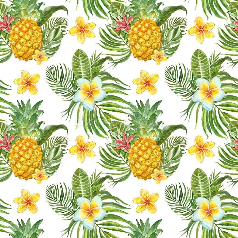 Lato tropikalny druk Akwarela bezszwowy wzór z roślinami, kwiatami i owoc egzota, Zielony palmowy liść, ananas na bielu ilustracji