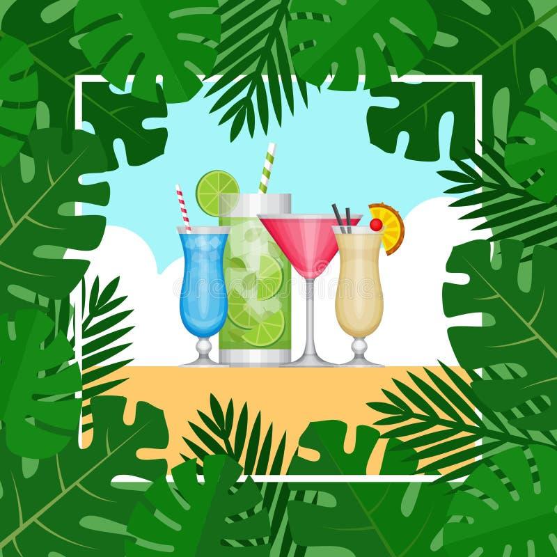 Lato tropikalny koktajl z palmowymi liśćmi Przyjęcie koktajlowe plakat ilustracja wektor