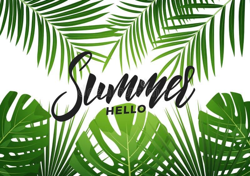 Lato Tropikalny tło z egzotycznymi palnts Sztandar dla lato sprzedaży, promocja, partyjni wydarzenia ilustracja wektor