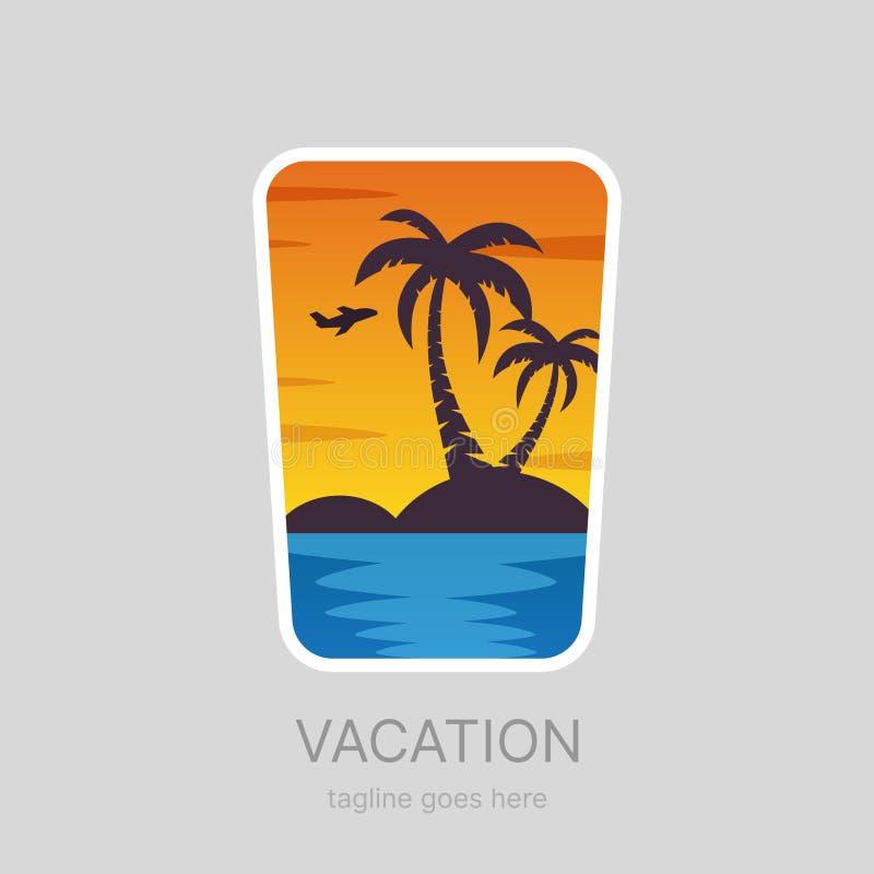 Lato, tropikalny wakacje krajobraz, palmy wyrzucać na brzeg logotyp royalty ilustracja