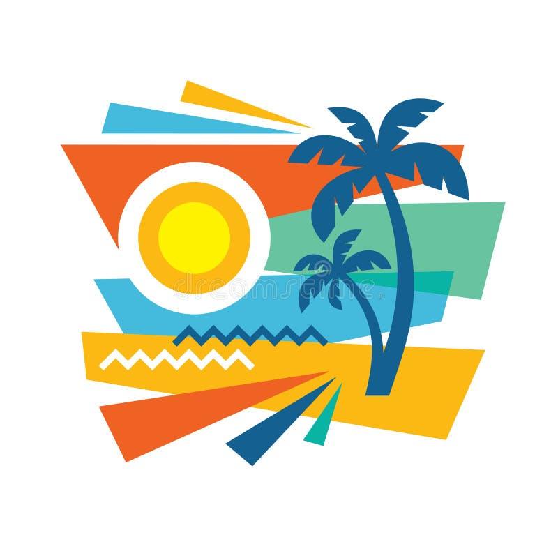 Lato tropikalny wakacje - pojęcie reklamowy promocyjny sztandar w mieszkanie stylu Podróży kreatywnie plakatowa wektorowa ilustra ilustracji