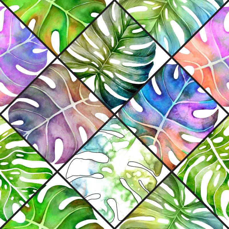 Lato tropikalny wz?r monstera li?cie banki target2394_1_ kwiatono?nego rzecznego drzew akwareli cewienie royalty ilustracja