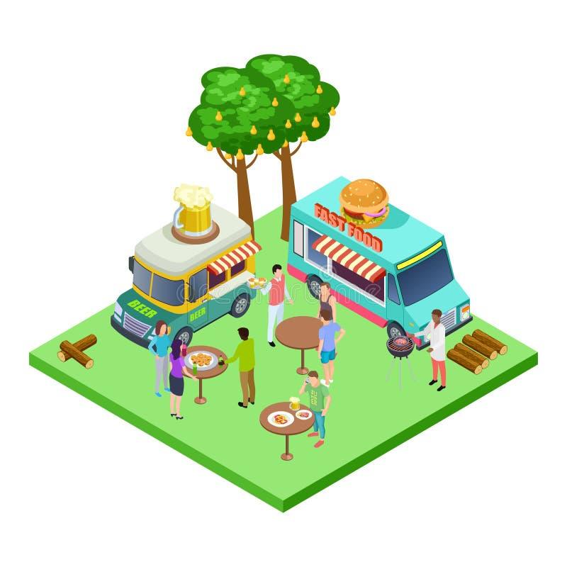 Lato uliczna kawiarnia, bbq przyjęcie, pinkin w parkowej isometric wektorowej lokacji royalty ilustracja