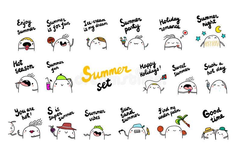 Lato ustalona ręka rysować ilustracje z ślicznym marshmallow ilustracja wektor