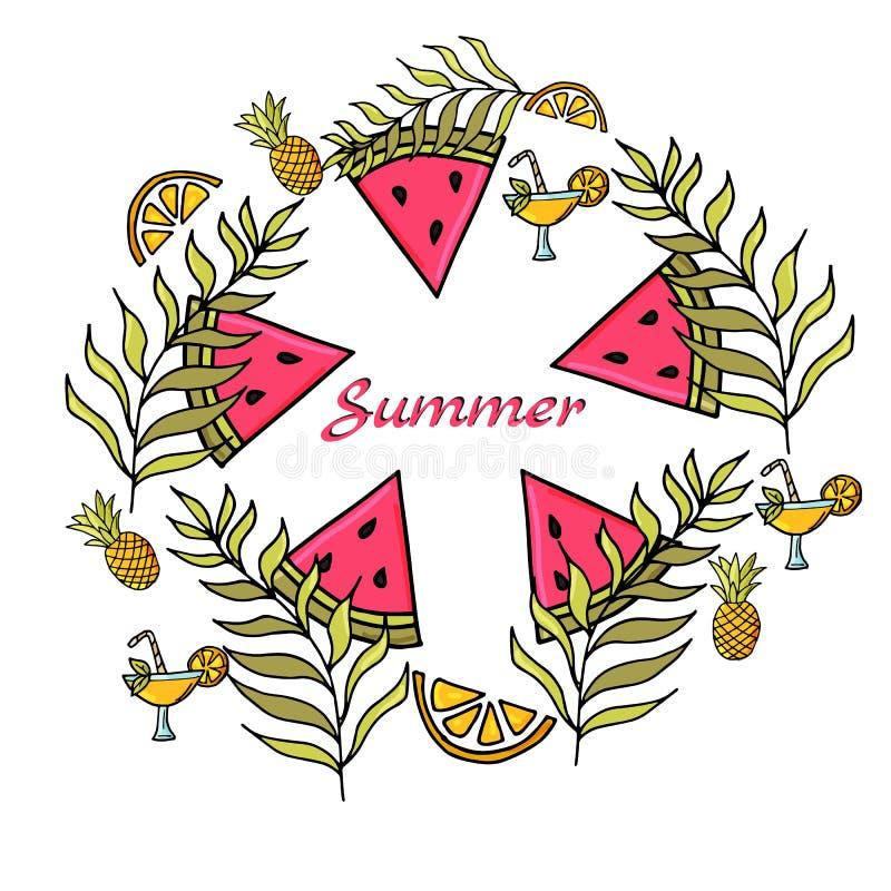 Lato ustawiający z ręka rysującym arbuzem i elementami ilustracji