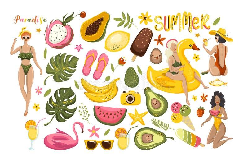 Lato ustawiający z ręka rysującymi podróż elementami Lody, arbuz, liście, granatowiec, sandały, avocado, banan ilustracja wektor