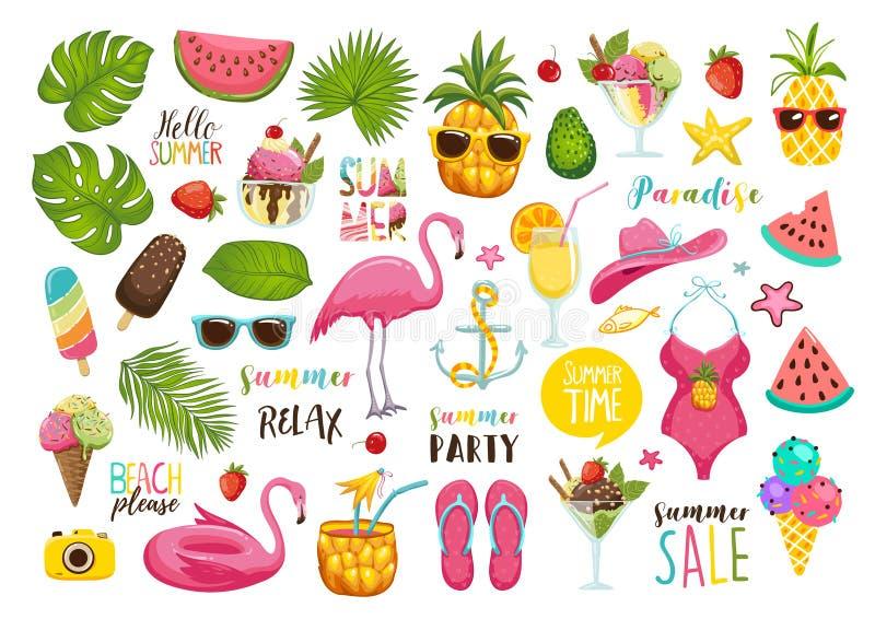 Lato ustawiający z ręka rysującymi podróż elementami Lody, arbuz, liście, kapelusz, sandały, ananas, torba, kaligrafia i royalty ilustracja
