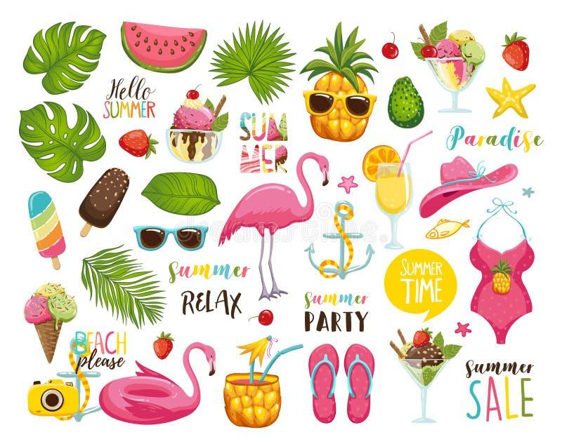 Lato ustawiający z ręka rysującymi podróż elementami Lody, arbuz, liście, kapelusz, sandały, ananas, torba, kaligrafia i ilustracji