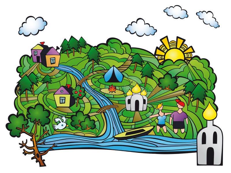 Lato w wiosce Odpoczynek rzeką ilustracja wektor