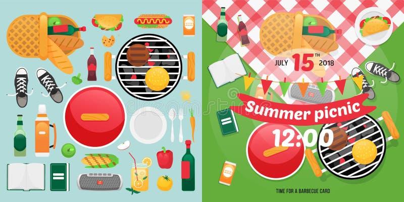 Lato wakacje i jedzenia przedmioty dla łatwej jaźni zrobili zaproszeniu karcianemu projektowi Pykniczne clipart rzeczy royalty ilustracja