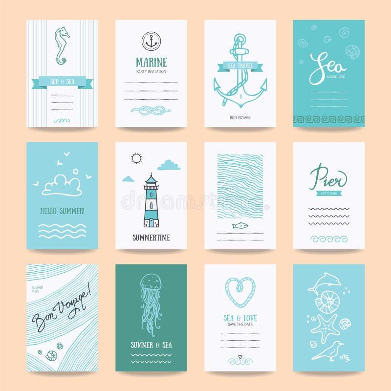 Lato wakacje karty, podróż plakatów szablony ilustracji