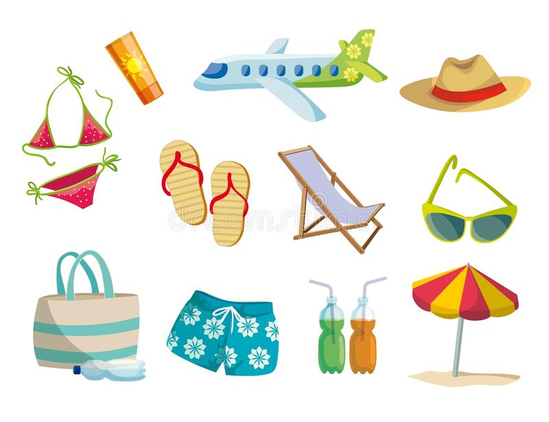 Lato, wakacje na plaży, podróż Set barwione wektorowe ikony na bielu royalty ilustracja
