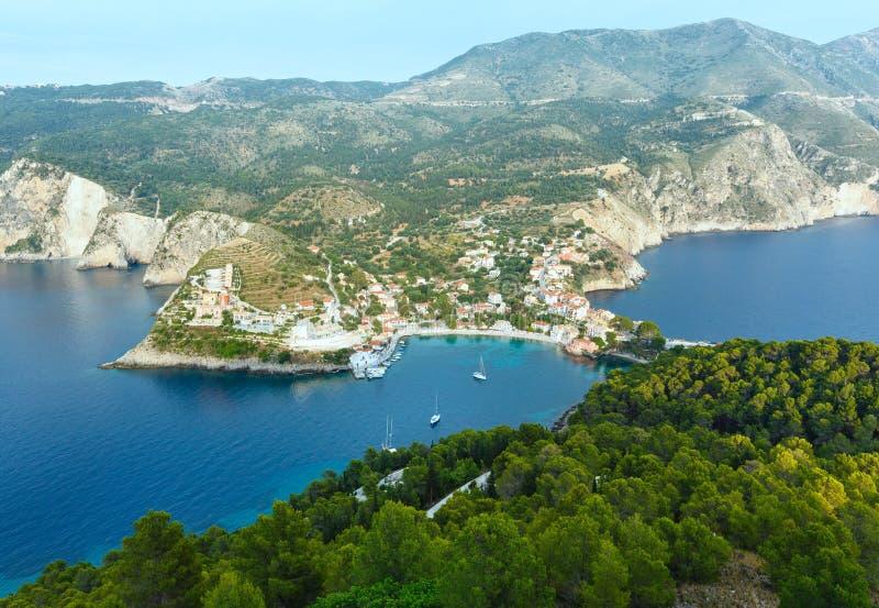 Lato widok Assos półwysep Grecja, Kefalonia (,) zdjęcia royalty free