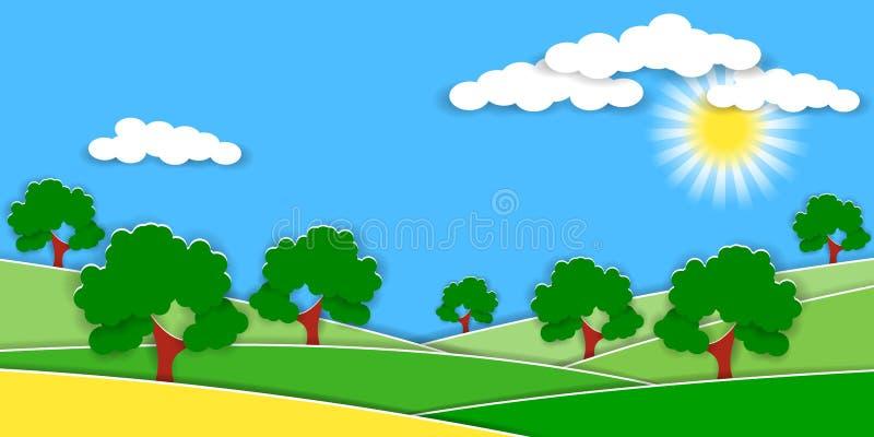 Lato wiejski krajobraz z zielonymi wzgórzami i owocowymi drzewami 3D papieru cięcia styl dla wieś projekta royalty ilustracja