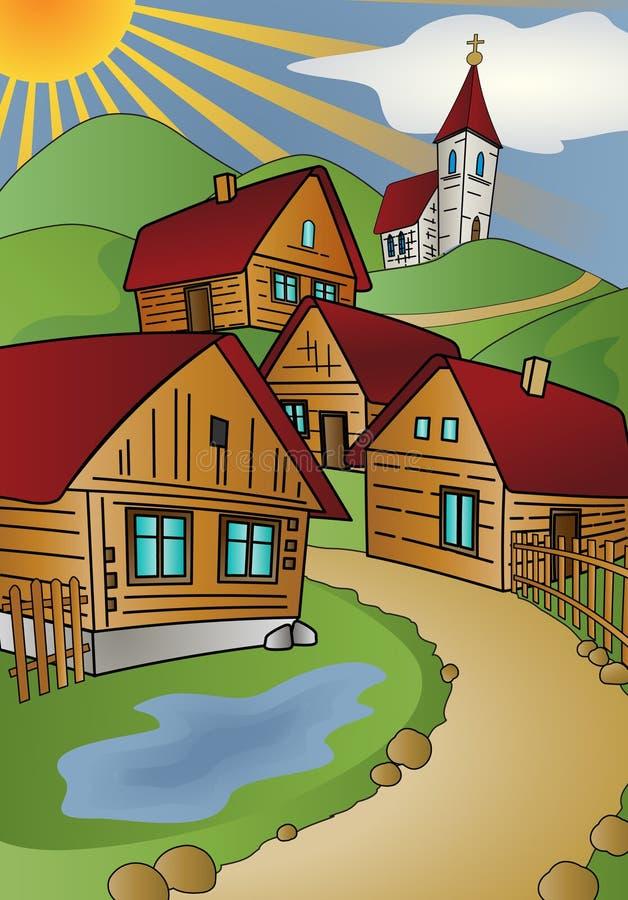 lato wioska ilustracji